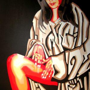Emiliano-Stella-Teresa-in-accappatoio-body-lotion-olio-su-tela-100x100cm - 2006