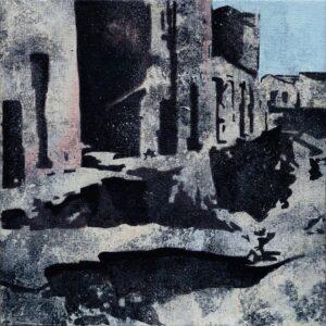 Emiliano-Stella-resta-solo-il-cielo-Calitri-30x30cm-tecnica-mista-su-tessuto-2020