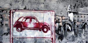 Emiliano-Stella-2CV-on-landscape-tecnica-mista-su-tessuto-100x200cm-2010