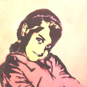 Emiliano-Stella-Francesca-Bufacchi-tecnica-mista-su-carta-da-parati-incollata-su-tela-100x100cm-2007