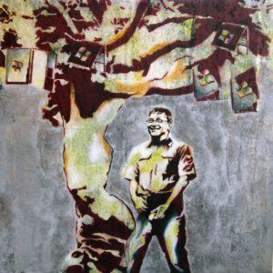 Emiliano-Stella-What-happens-when-Bill-pees-tecnica-mista-su-tessuto-100x100cm-2010