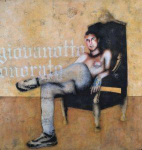 Emiliano-Stella-giovanotto-onorato-tecnica-mista-su-tessuto-90x85cm-2012