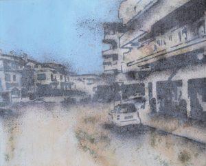 Emiliano-Stella-paesaggio-urbano3-tecnica-mista-su-jeans-35x50cm--2013